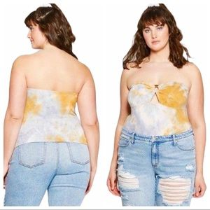 Wild Fable Tie Dye Terry Tube Top With Hardware